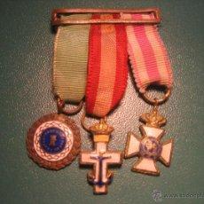 Militaria: PASADOR DE 3 MINIATURAS DE MEDALLA - SUFRIMIENTO - MERITO NAVAL Y SAN HERMENEGILDO. Lote 39728784