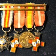 Militaria: PASADOR CON CUATRO MEDALLAS (MINIATURAS ) DE EXCELENTE CALIDAD, EPOCA ANTERIOR.. Lote 40266718