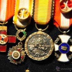 Militaria: PASADOR CON CUATRO MEDALLAS (MINIATURAS ) DE EXCELENTE CALIDAD, EPOCA ANTERIOR.. Lote 40266956