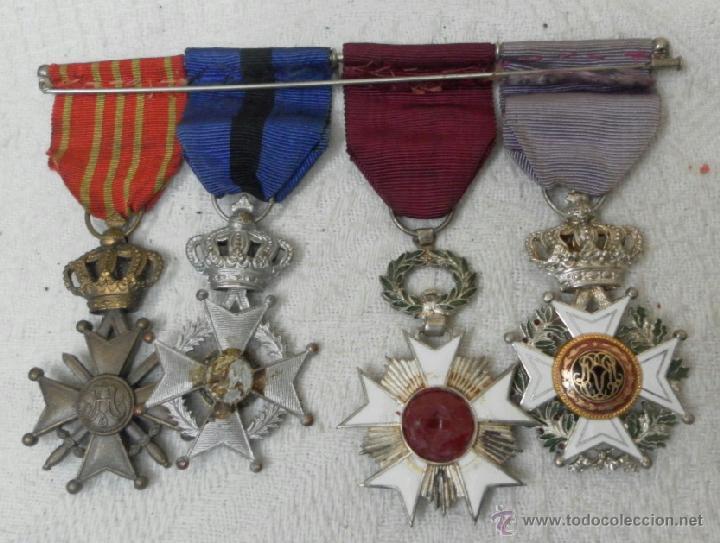 Militaria: Bélgica. Pasador con cuatro condecoraciones. - Foto 4 - 40384248