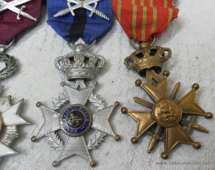 Militaria: Bélgica. Pasador con cuatro condecoraciones. - Foto 6 - 40384248