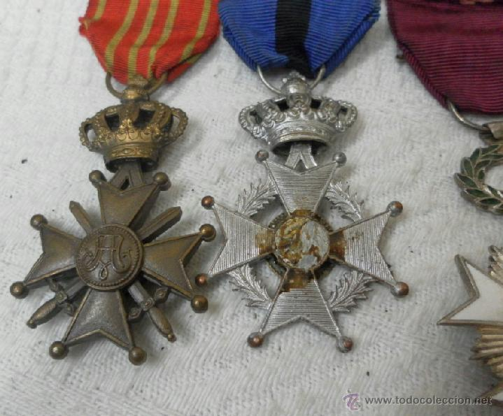 Militaria: Bélgica. Pasador con cuatro condecoraciones. - Foto 7 - 40384248