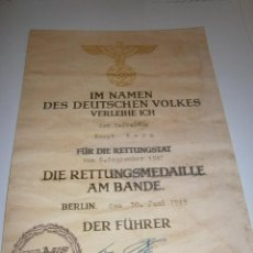 Militaria: DOCUMENTO CON LA FIRMA DE ADOLF HITLER 1943. Lote 41601735