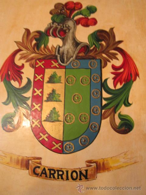 Militaria: Escudo heráldico - Carrion - pintado a mano sobre madera. 16 x 18,5 cms. - Foto 2 - 42313931