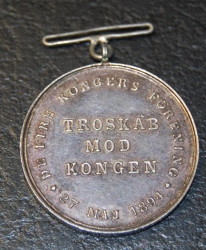 Militaria: DINAMARCA Medalla PLATA de Lealtad al Rey Asociación Cuatro reyes 27 mayo 1894 ÚNICA por sus Grietas - Foto 2 - 42717712