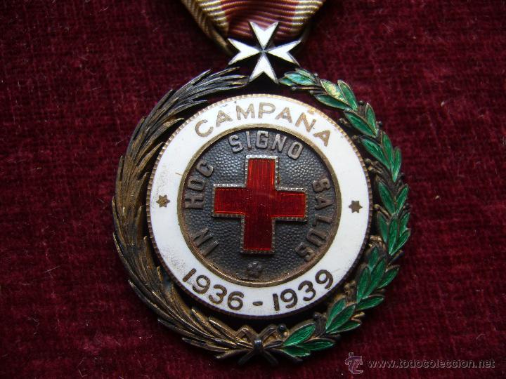 MEDALLA DE PLATA DE LA CRUZ ROJA CAMPAÑA 1936 1939 PRENDEDOR VANGUARDIA. GUERRA CIVIL ESPAÑOLA (Militar - Medallas Españolas Originales )