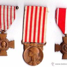 Militaria: I GUERRA MUNDIAL,FRANCIA,3 MEDALLAS CRUZ AL VALOR MILITAR,CRUZ DE COMBATIENTE Y GUERRA 1914-1918. Lote 44702684