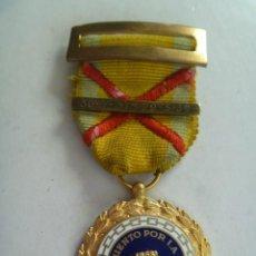 Militaria: GUERRA CIVIL : MEDALLA SUFRIMIENTOS POR LA PATRIA. ASPA HERIDO BORDADA Y BARRITA GRABADA CON FECHA. Lote 44782938