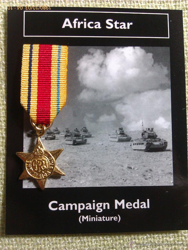 MEDALLA MINIATURA AFRICA STAR. REINO UNIDO. 1940-1943. II GUERRA MUNDIAL (Militar - Reproducciones y Réplicas de Medallas )