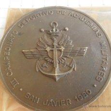 Militaria: MEDALLA III CAMPEONATOS DEPORTIVO DE ACADEMIAS MILITARES SAN JAVIER 1980. Lote 45603265