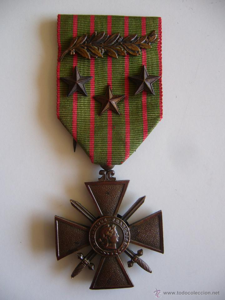 MEDALLA FRANCESA CRUZ DE GUERRA 1914 1916 CON 3 ESTRELLAS DE BRONCE Y 1 PALMA 1ª G.M. (Militar - Medallas Extranjeras Originales)