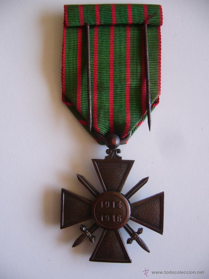 Militaria: Medalla francesa cruz de guerra 1914 1916 con 3 estrellas de bronce y 1 palma 1ª G.M. - Foto 2 - 45641095