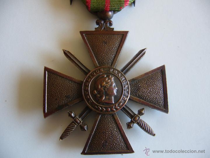 Militaria: Medalla francesa cruz de guerra 1914 1916 con 3 estrellas de bronce y 1 palma 1ª G.M. - Foto 3 - 45641095
