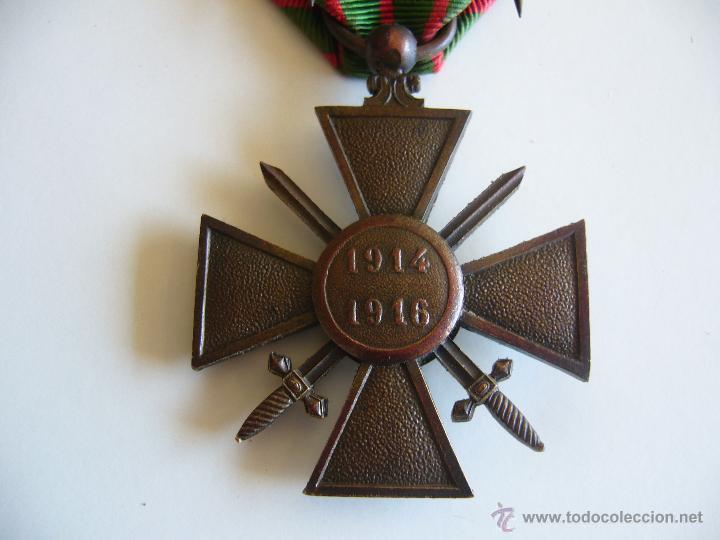Militaria: Medalla francesa cruz de guerra 1914 1916 con 3 estrellas de bronce y 1 palma 1ª G.M. - Foto 4 - 45641095