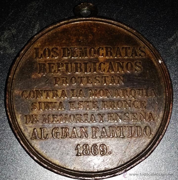 RARA MEDALLA DE LOS DEMOCRATAS REPUBLICANOS ANTIMONARQUICOS 1869 (Militar - Medallas Españolas Originales )