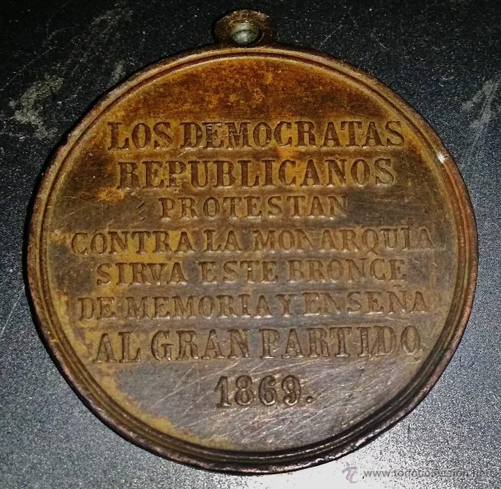 Militaria: RARA MEDALLA DE LOS DEMOCRATAS REPUBLICANOS ANTIMONARQUICOS 1869 - Foto 2 - 46002272