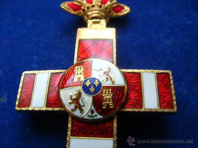 CRUZ MERITO MILITAR DISTINTIVO ROJO PENSIONADA ALFONSINA EN ORO CONDECORACION JOYA (Militar - Medallas Españolas Originales )