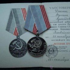 Militaria: MEDALLA MILITAR RUSA AL VETERANOS DEL TRABAJO DE LA URSS CON SU DOCUMENTACION ORIGINAL. Lote 46306776
