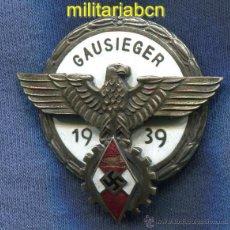 Militaria: DISTINTIVO DEPORTIVO HITLERJUGEND EN LAS COMPETICIONES NACIONALES. GAUSIEGER. EXCELENTE REPRODUCCIÓN. Lote 46307198