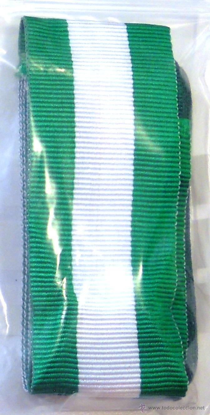 CINTA CRUZ CON DISTINTIVO BLANCO O. DEL MÉRITO DE LA GC. CORTE DE 15 CMS. (Militar - Cintas de Medallas y Pasadores)