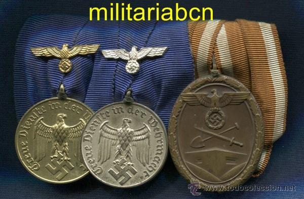 ALEMANIA III REICH. PASADOR: - MEDALLA 4 AÑOS SERVICIO WEHRMACHT - MEDALLA 12 AÑOS SERVICIO WEHRMAC (Militar - Medallas Extranjeras Originales)