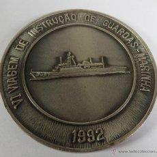 Militaria: INTERESANTE GRAN MEDALLON EN BRONCE FRAGATA DE LA MARINA DO BRASIL 1992 TODA EN RELIEVE. Lote 48020113