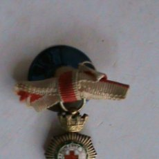 Militaria: MINIATURA DE SOLAPA DE LA MEDALLA DE LA CRUZ ROJA , PLATA , EPOCA REPUBLICA.. Lote 48461935