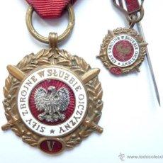Militaria: POLONIA: MEDALLA DE 5 AÑOS AL SERVICIO DE LAS FUERZAS ARMADAS + MINIATURA. A LA CONSTANCIA MILITAR.. Lote 48565710
