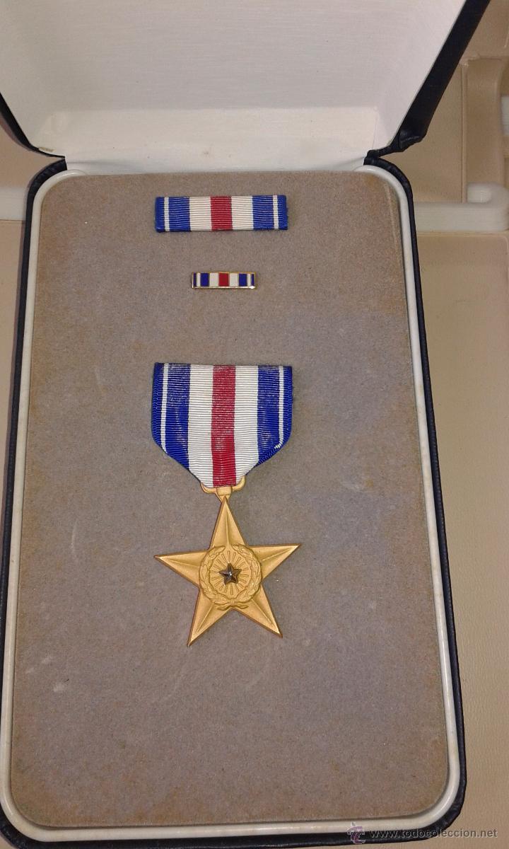 USA ESTRELLA DE PLATA + PASADOR (Militar - Medallas Extranjeras Originales)