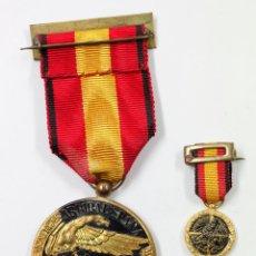 Militaria: 2 MEDALLAS FALANGISTAS, TAMAÑO DE LA GRANDE: 3,6CM DIÁMETRO.. Lote 49728103