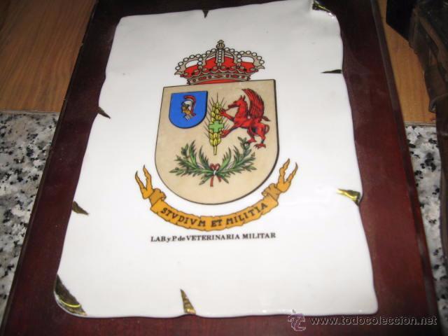 Militaria: Metopa de madera con escudo de ceramica Veterinaria Militar medida tabla 28 x 17 escudo 17 x 12 cm. - Foto 2 - 49854706