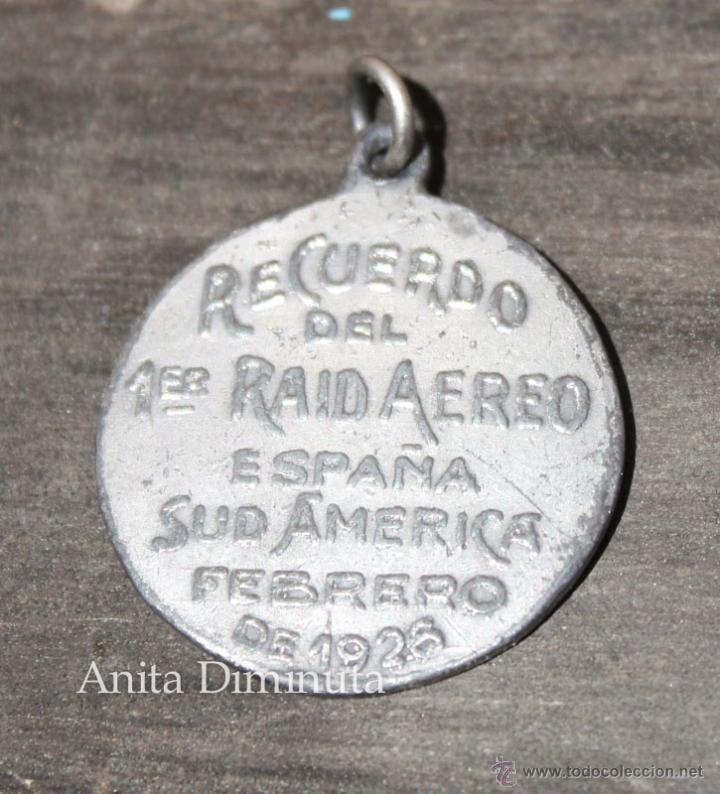 Militaria: ANTIGUA MEDALLA DEL PRIMER RAID AEREO ESPAÑA SUDAMERICA ESPAÑA ARGENTINA EN FEBRERO DE 1926 - COMAND - Foto 2 - 49860579