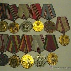 Militaria: LOTE DE 11 MEDALLAS ORIGINALES UNIÓN SOVIÉTICA. 2ª GUERRA MUNDIAL. DIFERENTES AÑOS.. Lote 50264742