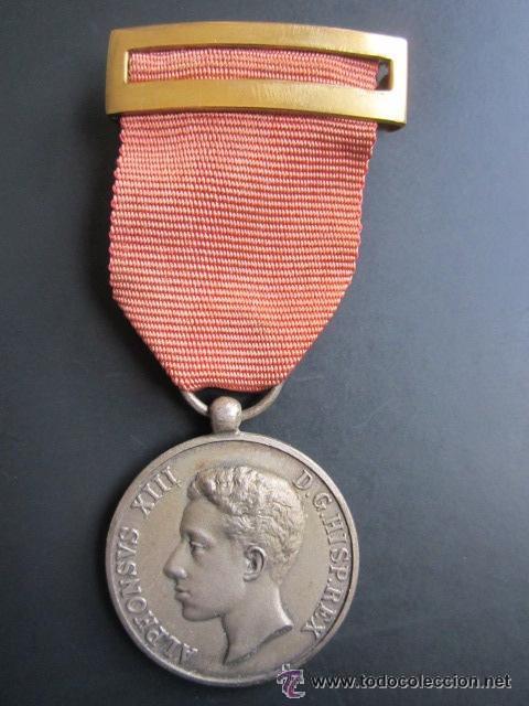 ANTIGUA MEDALLA ALFONSO XIII, 1902 (Militar - Medallas Españolas Originales )
