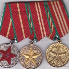 Militaria: LOTE DE TRES MEDALLAS SOVIETICAS PARA UNA PERS .URSS .POR EXELENTE SERVICIO MILITAR DE 10.15.20 ANOS. Lote 51617988