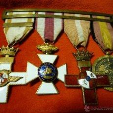 Militaria: PASADOR CUATRO MEDALLAS GUERRA CIVIL. FRANCO, MÉRITO AÉREO. Lote 53436581