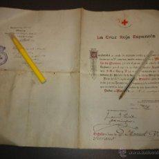 Militaria: DIPLOMA DE CONCESION DE MEDALLA BRONCE CRUZ ROJA 1930. Lote 53640849