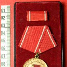 Militaria: ORIGINAL - DDR - MEDALLA A LA EXCELENCIA DE LOS GRUPOS DE COMBATE - CAJA ORIGINAL - CATEGORIA ORO. Lote 54588645