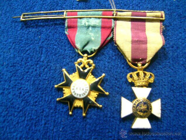 PASADOR ISABELINO TAMAÑO PRINCESA BENEMERITO A LA PATRIA Y SAN HERMENEGILDO (Militar - Medallas Españolas Originales )