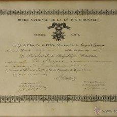 Militaria: DO-047. NOMBRAMIENTO DE CABALLERO DE LA ORDEN DE LA LEGION DE HONOR. FRANCIA 1889.. Lote 51688187