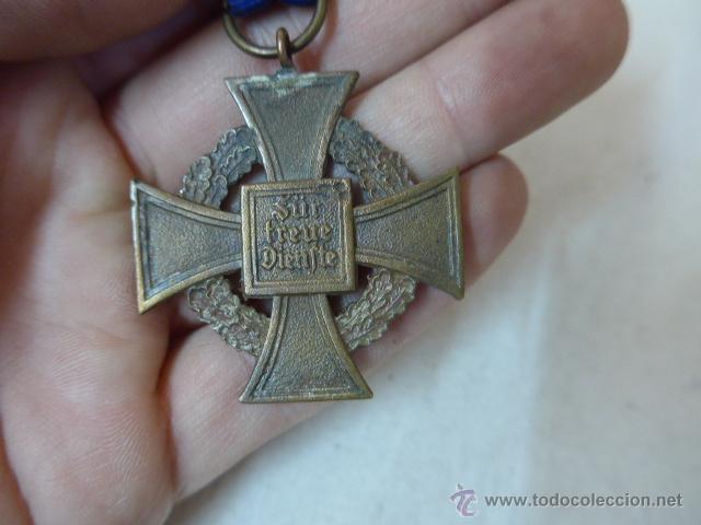 Militaria: Antigua medalla alemana medio desnazificada, original, Al servicio prestado, III Reich, alemania - Foto 2 - 54979778