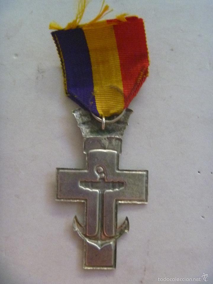 Militaria: REPUBLICA : MEDALLA DEL MERITO NAVAL DISTINTIVO ROJO PARA ACCION DE GUERRA. GRANDE PLATA - Foto 2 - 55993333