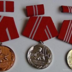 Militaria: LOTE 3 MEDALLAS AL GRUPO DE COMBATE DE LA RDA POR SERVICIO LEAL. ALEMANIA COMUNISTA. 1948-1990. Lote 56549346