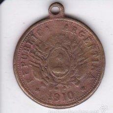 Militaria: MEDALLA RECUERDO DEL CENTENARIO DE LA REPUBLICA ARGENTINA 1810 A 1910. Lote 57009101