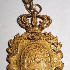 Militaria: MEDALLA DE LA REAL ACADEMIA HISPANO-AMERICANA. BAÑADA EN ORO. CON TITULO DE CONCESIÓN. 1931. Lote 57148002