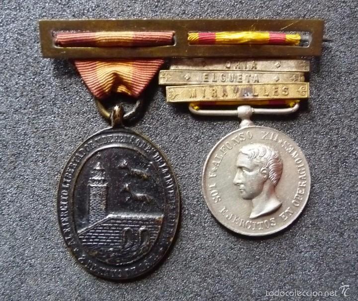 (JX-1440)PASADOR CON LAS MEDALLAS DE BILBAO (G.C.747) Y ALFONSO XII (G.C.756) . GUERRAS CARLISTAS . (Militar - Medallas Españolas Originales )