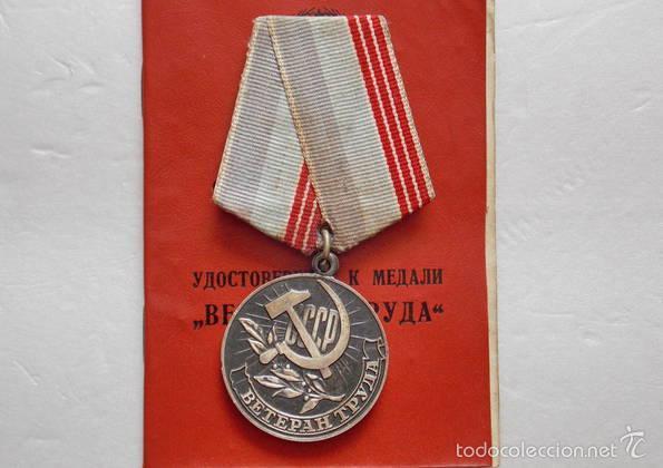 URSS RUSIA COMUNISTA MEDALLA VETERANO DEL TRABAJO CON PAPELES 1974 CCCP (Militar - Medallas Extranjeras Originales)