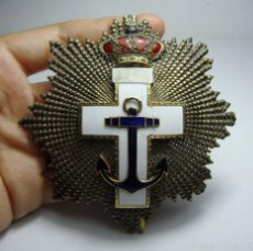 Militaria: GRAN CRUZ AL MERITO NAVAL. DISTINTIVO BLANCO. ALFONSO XIII. PLATA, ORO Y PLATA DORADA. MEDINA. 9 CM. Lote 58146584