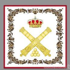 Militaria: AZULEJO 15X15 CON EL EMBLEMA DE LA ARTILLERIA ESPAÑOLA ORNAMENTADO. Lote 58334457
