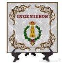 Militaria: AZULEJO 15X15 CON EL EMBLEMA DE INGENIEROS. Lote 71747951